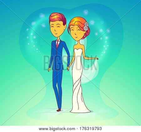 Couple, man and woman at wedding. Bride or wife and husband in suit or groom getting married. Smiling fiancee or young female with flower at hair at romantic celebration. Relationship, marriage theme