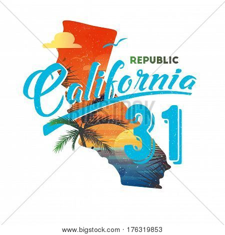 Sunset with palm and ocean, sun and cloud, gull or seagull at republic California Los Angeles. T-shirt print or clothing branding, coast sport advertising. Travel and vacation, tourism ads theme