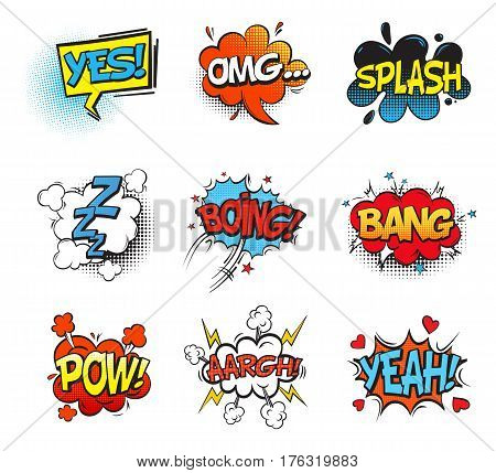 Bubble comic speeches for explanation. Onomatopoeia cartoon sounds explosion bang and fighting punch, smash and aaargh, pow, omg and sleep zzz in cloud. Comic book and expression theme
