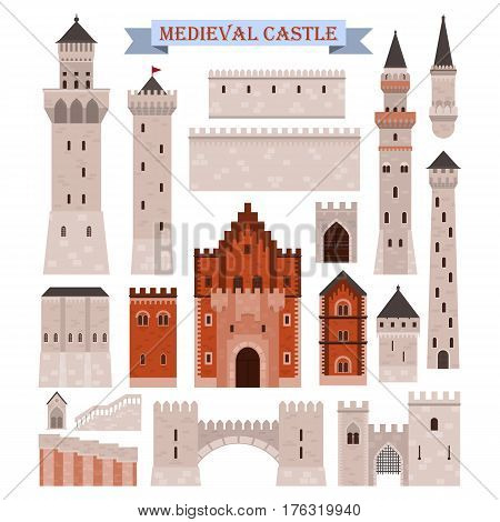 Old medieval castle icon. Fortress building parts, pinion walls and stairs, stone towers with flag and iron gates. Fortified bastion and middle ages landmark monument. History and royalty theme