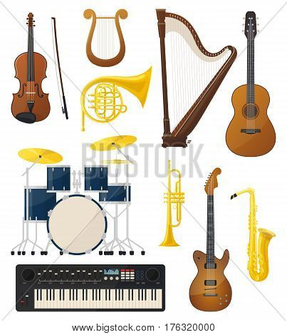 Drums or trap kit, violin with fiddlestick or bow, lyre and synthesizer or keyboard, string acoustic and electro guitar, sax or saxophone and trumpet. Concert and entertainment, ensemble record theme