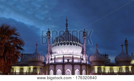 BRIGHTON GREAT BRITAIN - FEB 26 2017: Night scene of the illuminated royal pavilion in Brighton. February 26 2017 in Brighton Great Britain