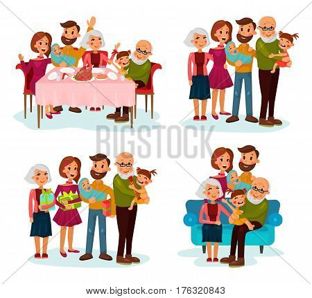 Family with children or kids near parents and grandparents. Father and mother, grandfather and grandmother with infants or baby at dinner table, with gifts and on sofa. Parenthood and family festive