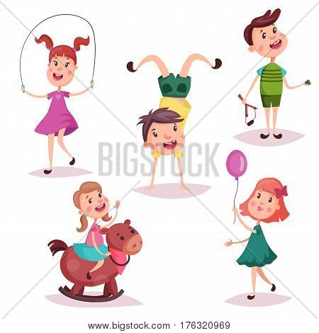 Girl on toy rocking horse, boy upside down on handstand, baby woman on skipping rope, schoolgirl with air balloon, cartoon schoolkid holding slingshot or catapult. Childhood, preschool, kindergarten