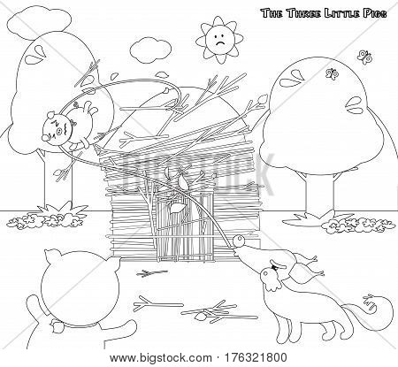 Coloring three little pigs 6: wolf destroys the stick house
