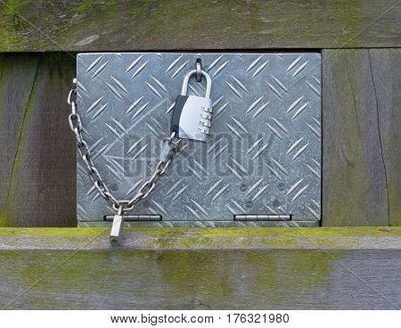 Metal Industrial Crate Box With Locked With Chain And Chrome Number Lock.