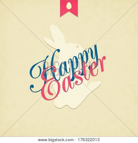 Easter Hand Drawn Egg With Text On Grunge Background