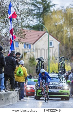 Conflans-Sainte-HonorineFrance-March 62016: The American cyclist Andrew Talansky of Cannondale Team riding during the prologue stage of Paris-Nice 2016.