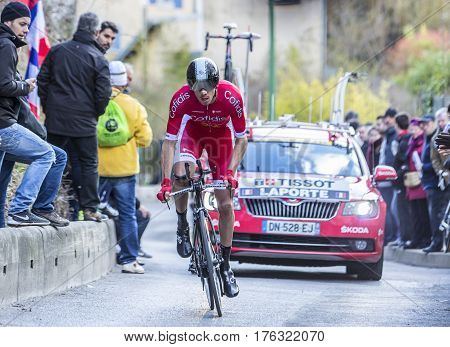 Conflans-Sainte-HonorineFrance-March 62016: The French cyclist Christophe Laporte of Cofidis Team riding during the prologue stage of Paris-Nice 2016.