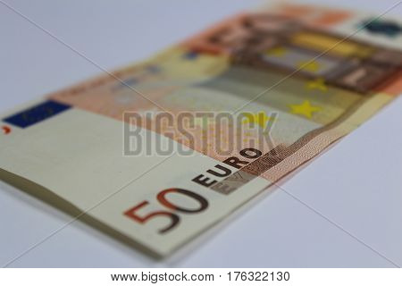 Euro banknote/ This is fifty euro banknote.