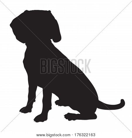 A black silhouette of a sitting Beagle puppy