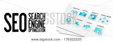 SEO Search Engine Optimization Banner Website Homepage Online Marketing