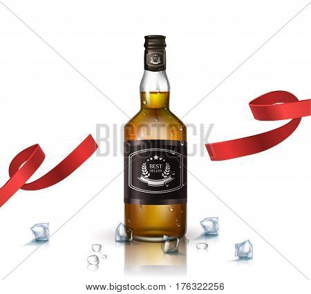 Bottle of brandy , bourbon, whiskey, cognac with red ribbon, isolated on white. Poster or brochure template.