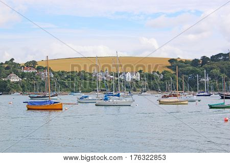 Yachts moored on the River Fal, Falmouth