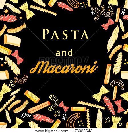 Vector background with different tasty pasta on a dark