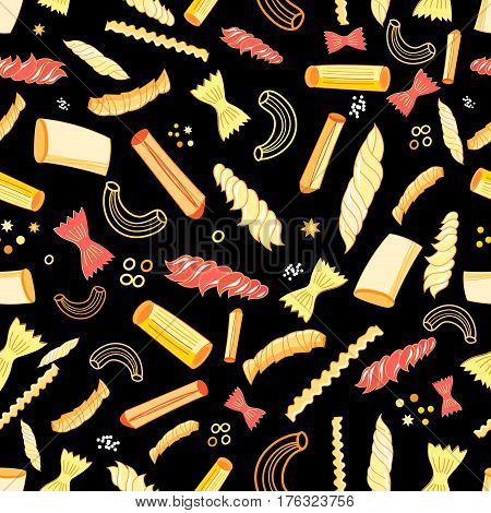 Seamless vector pattern with different tasty pasta on a dark background