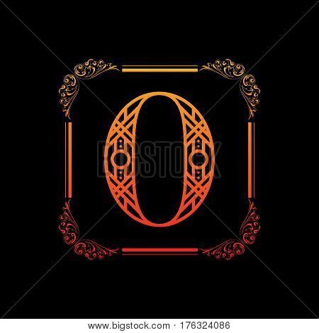 Decorative number 0 with abstract frame isolated on black background
