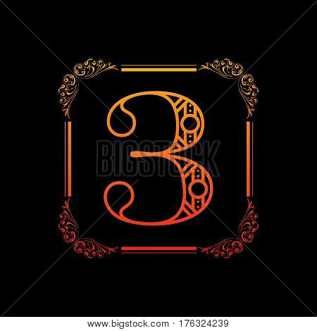 Decorative number 3 with abstract frame isolated on black background