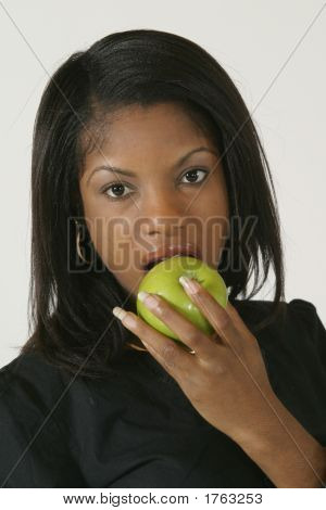 Model Release #278 African American Woman in early 20's eating apple poster