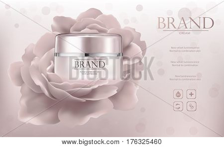 Vector promo ads sample with creme jar and flower 3d illustration