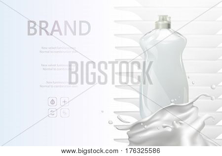 Detergent promo on background with stack of clean washed dishes. Washing fluid vector ads , bottle wash liquid cleanser.