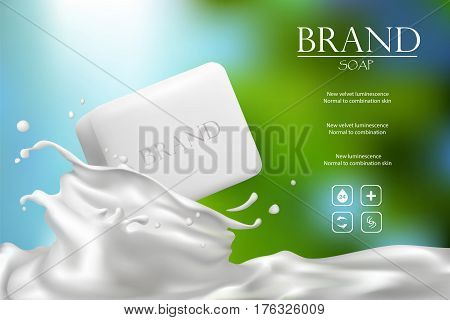 Soap advertisement design. Vector wash soap background. Laundry detergent package design banner