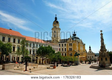 Cityscape on main city Square of Pecs - Hungary. Pecs was one of european Capital of Culture.