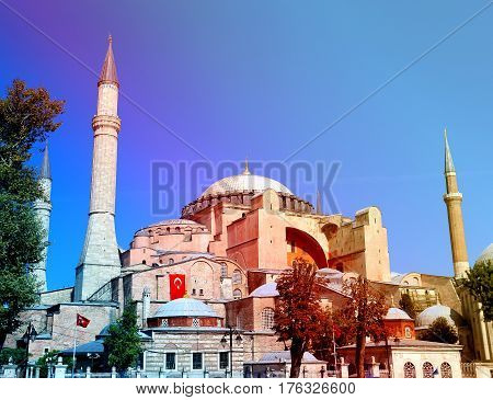 Photo of the beautiful St. Sophia Cathedral in Turkey on a sunny day