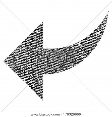 Undo vector textured icon for overlay watermark stamps. Fabric black vectorized texture. Symbol with unclean design. Rubber seal stamp with fiber textile structure.