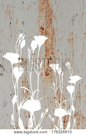 Abstract Flowers On Old Rusty Metal Texture