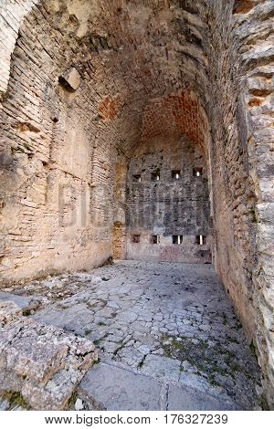 interior detail the ruins of an ancient fort used by soldiers during the First World War near the town of Asiago in North Italy