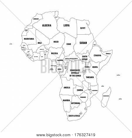 Political map of Arfica continent. Simple black wireframe outline with national borders, and country name labels on white background. Vector illustration.