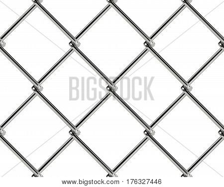 Chain link fence seamless pattern. Industrial style wallpaper. Realistic geometric texture. Graphic design element for web site background catalog. Steel wire wall on white. Vector illustration