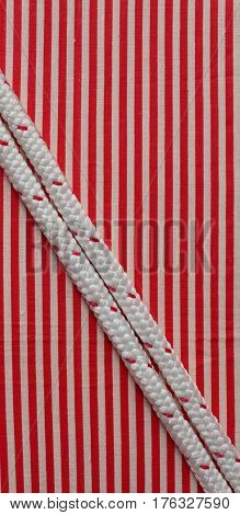 durable rope red striped flat lay cord, cordage,