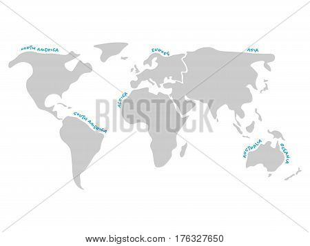 World map divided to six continents in dark grey - North America, South America, Africa, Europe, Asia and Australia Oceania. Simplified silhouette vector map with continent name labels curved by borders.