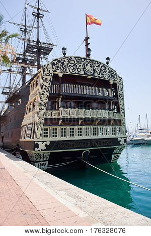 Alicante, Spain - June 30, 2016: Bow of the Santisima Trinidad ship. Ship is an exact replica of the Santisima Trinidad . Costa Blanca. Spain