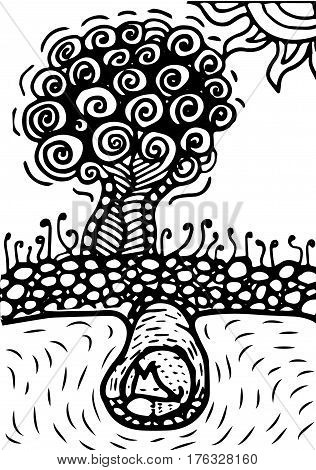 Burrow under tree with sleeping fox. zentagle style. black and white