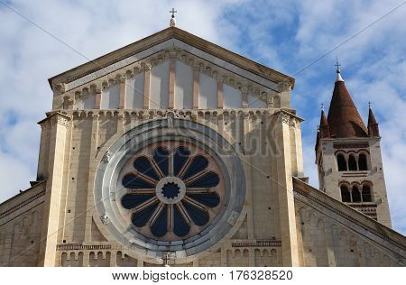 Rose Window Of The Basilica Of San Zeno In Verona Italy With The