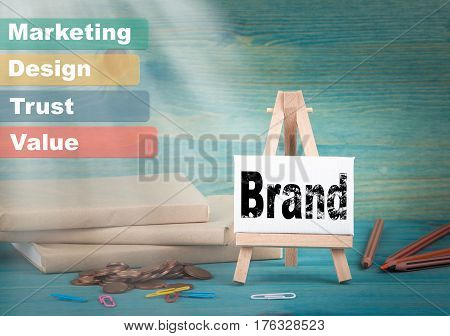 Brand, Business and strategic concept. notice board by the books and money, and notifications.