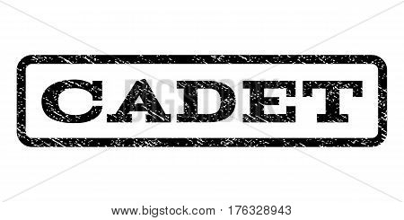 Cadet watermark stamp. Text caption inside rounded rectangle with grunge design style. Rubber seal stamp with dust texture. Vector black ink imprint on a white background.
