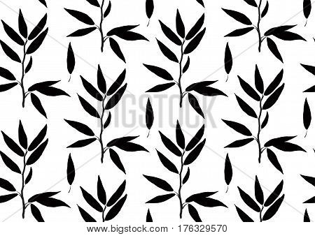 Eucalyptus longifolia woolly butt gum-tree leaves brunch sprig organic seamless pattern. Vector black silhouette beautiful herbal laurel leaf plant nature illustration isolated on white background.