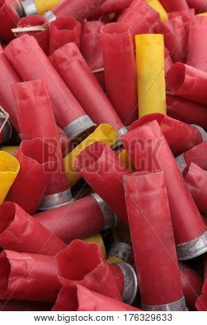 A photo of a pile shotgun shells