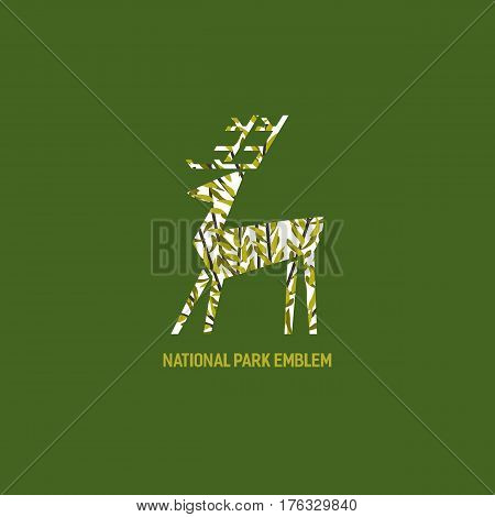 Animal based logo. Wild deer sign. Hand drawn design for national park emblem. Horned reindeer symbol. Decorative vector illustration with elk. Wildlife green color element of banner background