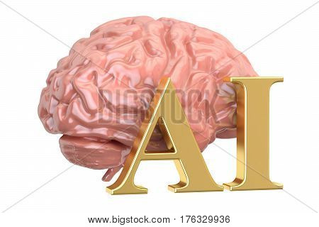 Human brain and AI word artificial intelligence concept. 3D rendering