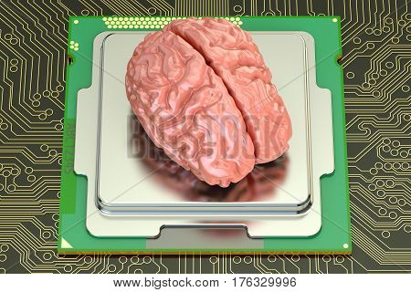 Human brain with computer processor artificial intelligence concept. 3D rendering
