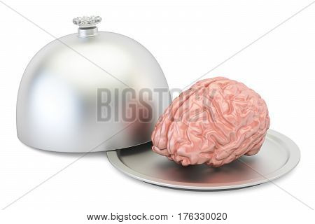Restaurant cloche with brain 3D rendering isolated on white background