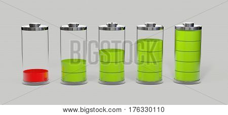 Battery charging. Battery charge level indicators isolated on grey. 3d illustration