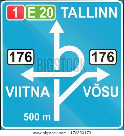 Estonian Informatory Road Sign With Directions And Destinations
