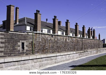 Halifax, Nova Scotia, September 23, 2015 -- Side view of the brick smokestacks on the side of the military barracks at Citadel Hill in Halifax, Nova Scotia on a bright sunny day in September