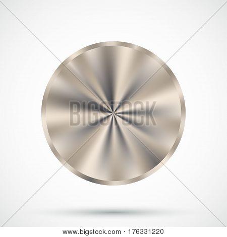 Steel round button. Blank metallic button template. Vector illustration.